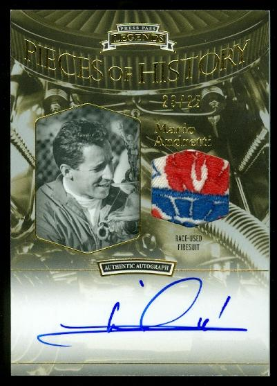 2012 Press Pass Legends Pieces of History Memorabilia Autographs Gold #PHSMA Mario Andretti FS