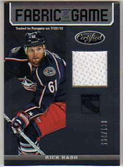 2012-13 Certified Fabric of the Game #37 Rick Nash/299