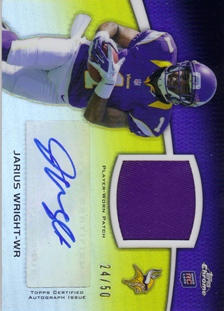 2012 Topps Chrome Rookie Autographs Patches #RAPJW Jarius Wright