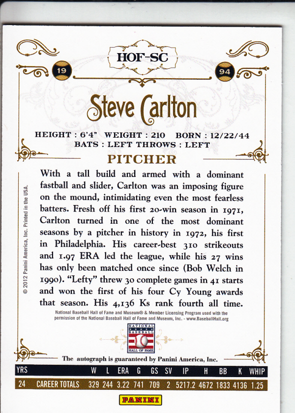 2012 Panini Cooperstown Signatures #31 Steve Carlton/199 back image