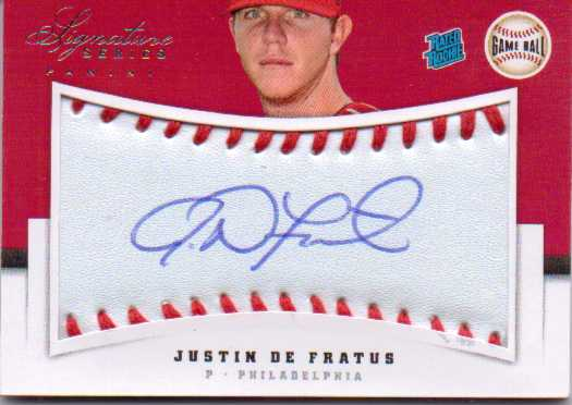 2012 Panini Signature Series Rookies Game Ball Signatures #129 Justin De Fratus