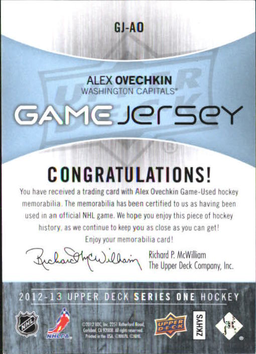2012-13 Upper Deck Game Jerseys #GJAO Alexander Ovechkin G back image