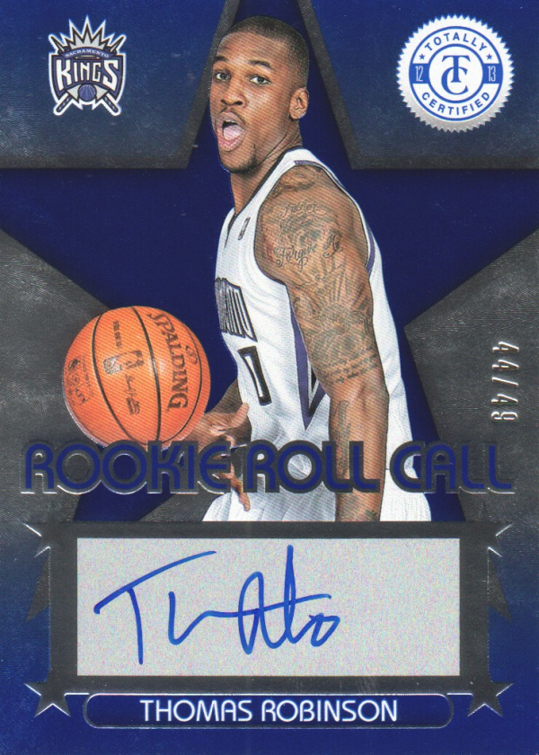 2012-13 Totally Certified Rookie Roll Call Autographs Blue #7 Thomas Robinson/49