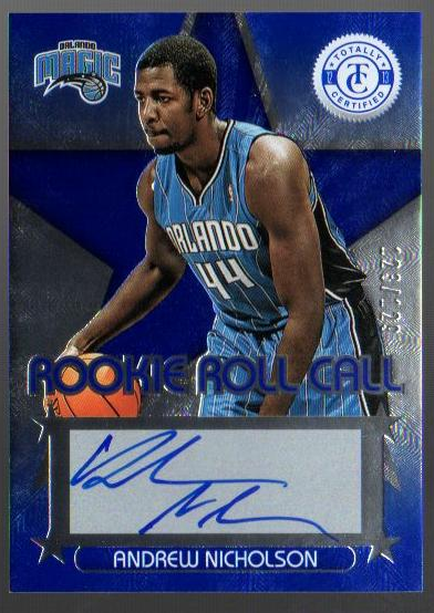 2012-13 Totally Certified Rookie Roll Call Autographs Blue #44 Andrew Nicholson/129