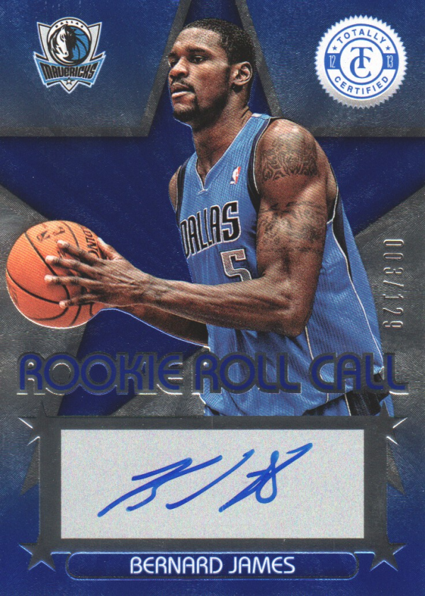 2012-13 Totally Certified Rookie Roll Call Autographs Blue #68 Bernard James/129