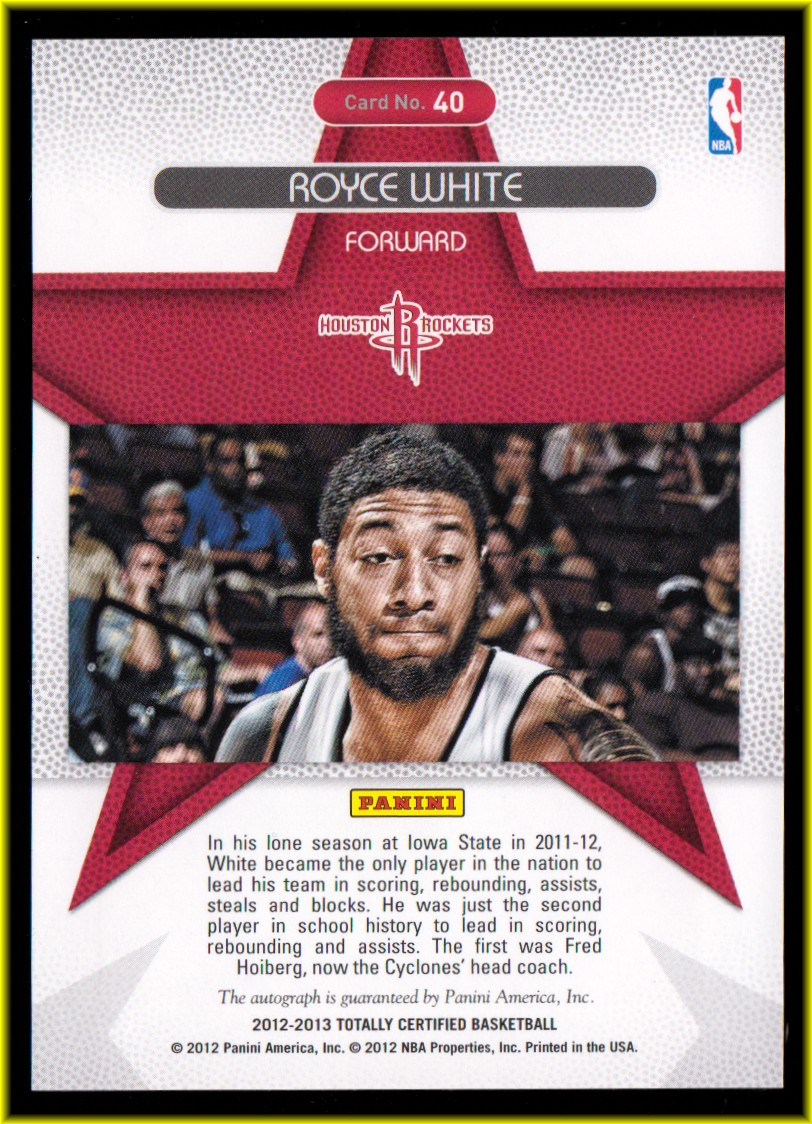 2012-13 Totally Certified Rookie Roll Call Autographs Green #40 Royce White back image