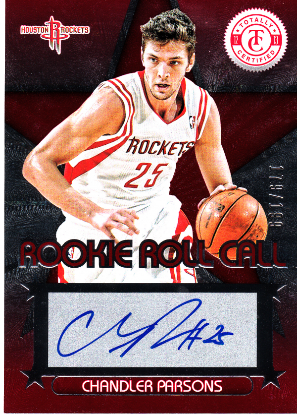 2012-13 Totally Certified Rookie Roll Call Autographs Red #5 Chandler Parsons/199