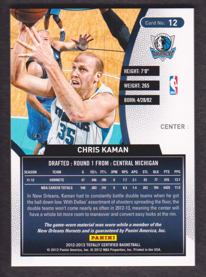 2012-13 Totally Certified Blue Materials #12 Chris Kaman/99 back image