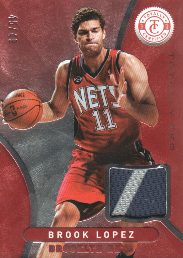 2012-13 Totally Certified Red Materials Prime #4 Brook Lopez