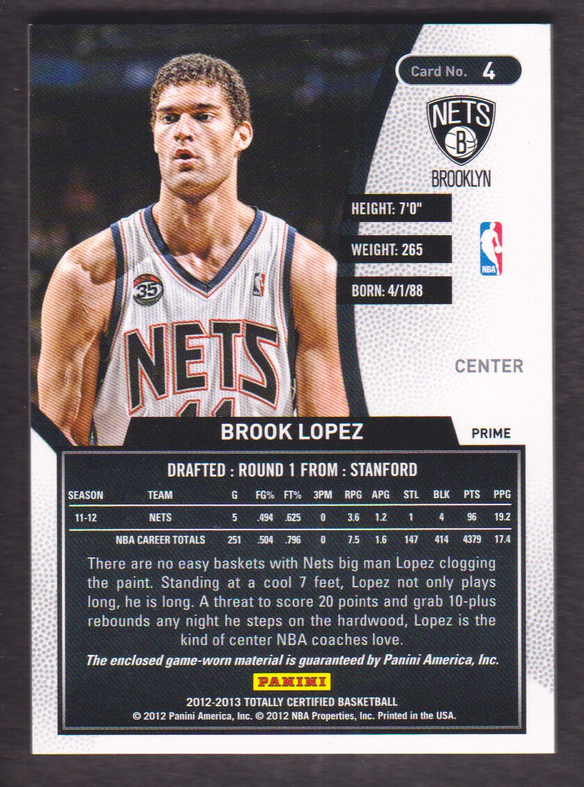 2012-13 Totally Certified Red Materials Prime #4 Brook Lopez back image