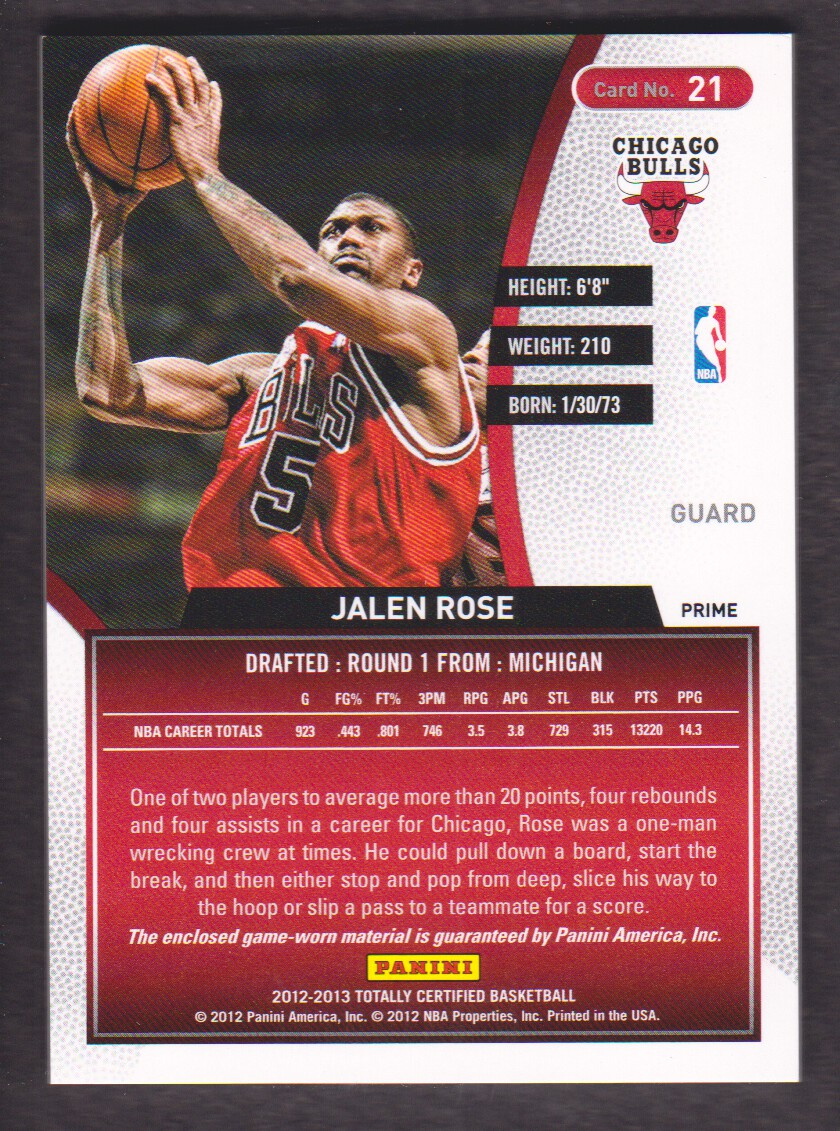 2012-13 Totally Certified Red Materials Prime #21 Jalen Rose back image