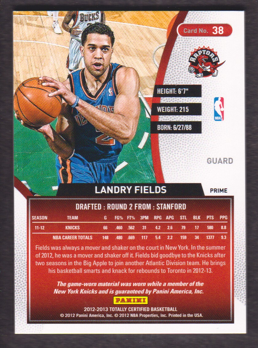 2012-13 Totally Certified Red Materials Prime #38 Landry Fields back image
