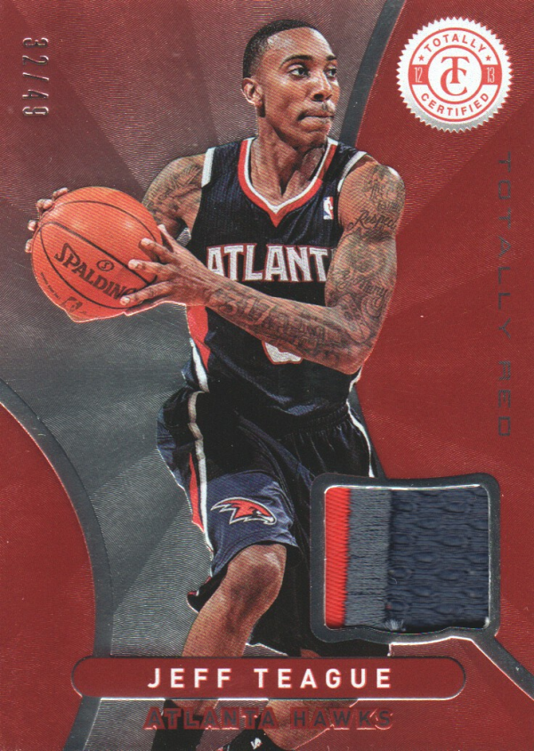 2012-13 Totally Certified Red Materials Prime #159 Jeff Teague