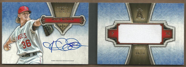 2012 Topps Five Star Jumbo Relic Autograph Books Gold #JW Jered Weaver EXCH