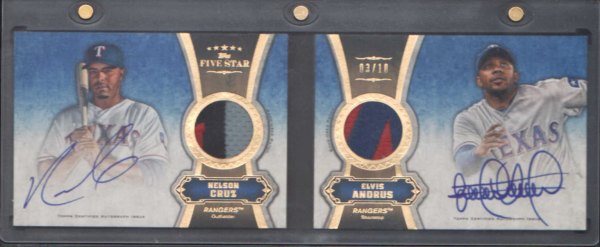 2012 Topps Five Star Dual Patch Autograph Books #CA Elvis Andrus/Nelson Cruz