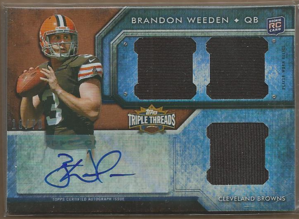 2012 Topps Triple Threads Sepia #103 Brandon Weeden JSY AU