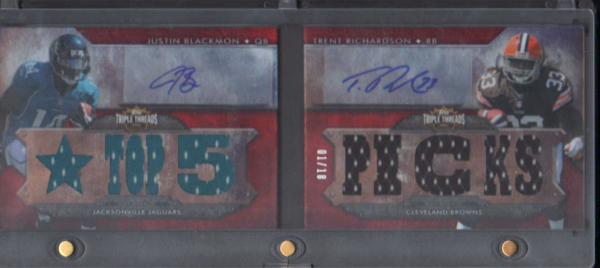 2012 Topps Triple Threads Autographed Relic Pairs #TTARP4 Justin Blackmon/Trent Richardson