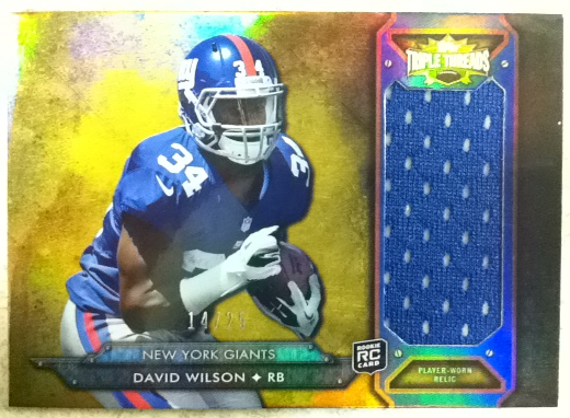 2012 Topps Triple Threads Rookie Jumbo Relics Gold #TTRJR14 David Wilson