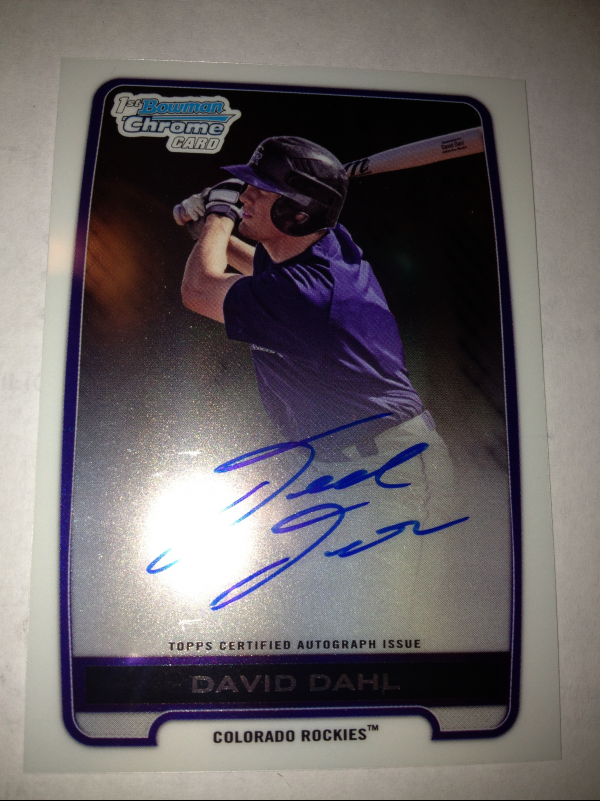 2012 Bowman Chrome Draft Draft Pick Autographs #DD David Dahl