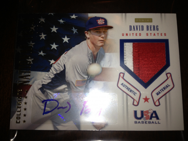 2012 USA Baseball Collegiate National Team Patches Signatures #1 David Berg