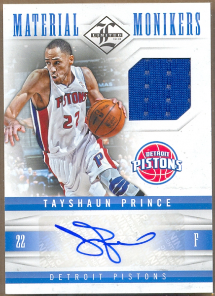 2012-13 Limited Monikers Materials #5 Tayshaun Prince/99