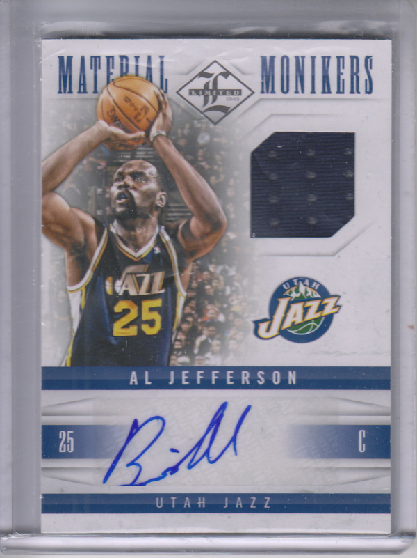 2012-13 Limited Monikers Materials #10 Al Jefferson/49