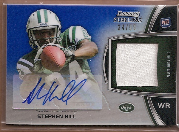 2012 Bowman Sterling Blue Refractors #BSARSH Stephen Hill JSY AU