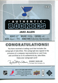 2012-13 SP Game Used Gold Autographs #143 Jake Allen back image