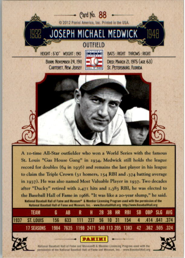 2012 Panini Cooperstown Crystal Collection Red #88 Joe Medwick back image