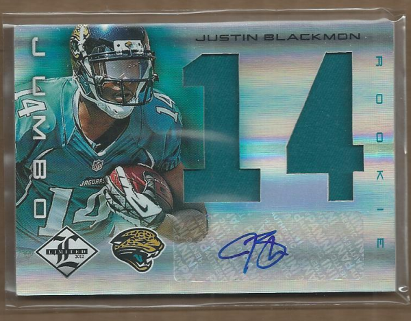2012 Limited Rookie Jumbo Jerseys Autographs Jersey Number #5 Justin Blackmon