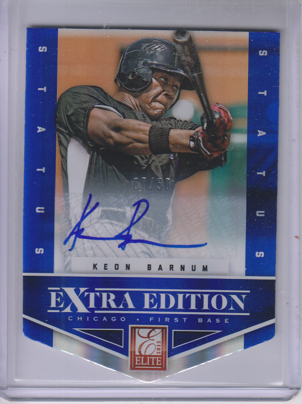 2012 Elite Extra Edition Signature Status Blue #7 Keon Barnum