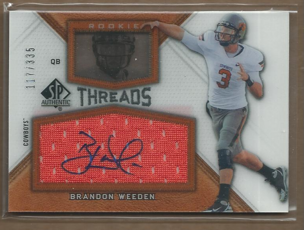 2012 SP Authentic Rookie Threads Autographs #RTBW Brandon Weeden/335