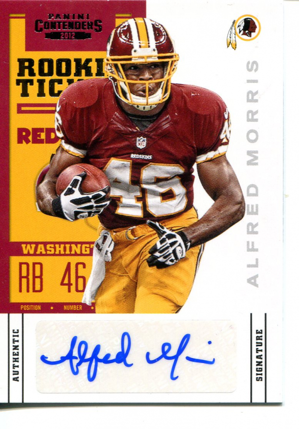 2012 Panini Contenders #101A Alfred Morris AU/456* RC/(left thumb pointing up)