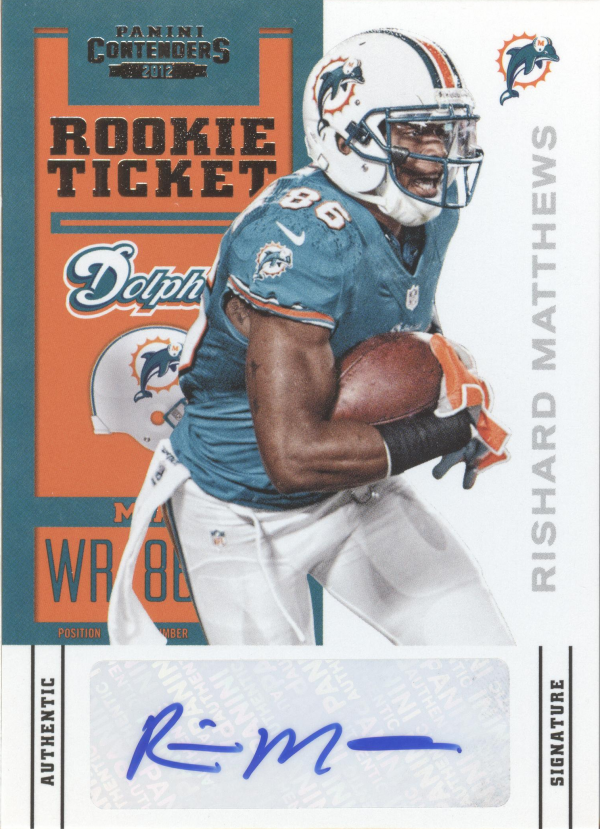 2012 Panini Contenders #180A Rishard Matthews AU RC