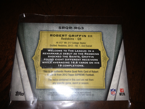 2012 Topps Supreme Rookie Quad Relics Blue #SRQRRG3 Robert Griffin III back image