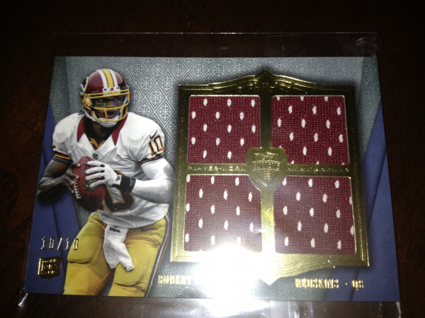 2012 Topps Supreme Rookie Quad Relics Blue #SRQRRG3 Robert Griffin III