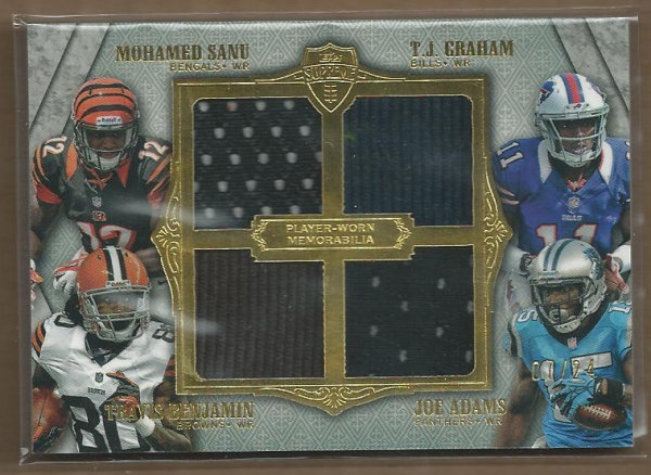 2012 Topps Supreme Rookie Relic Quad Combos #SGBA Mohamed Sanu/T.J. Graham/Travis Benjamin/Joe Adams
