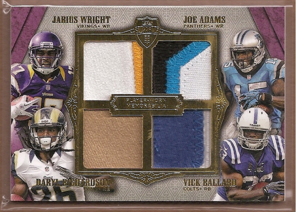 2012 Topps Supreme Rookie Relic Quad Combos Purple Patch #SRQCWARB Jarius Wright/Joe Adams/Daryl Richardson/Vick Ballard