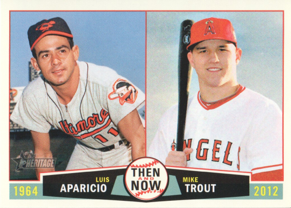 2013 Topps Heritage Then and Now #AT Luis Aparicio/Mike Trout