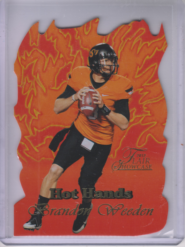 2012 Fleer Retro Flair Showcase Hot Hands #HH20 Brandon Weeden