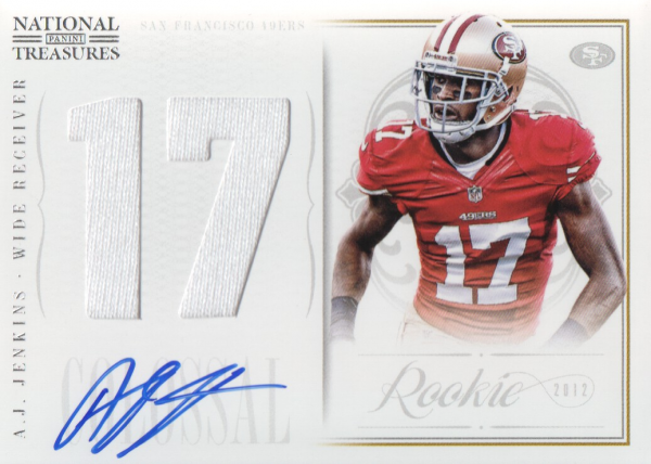 2012 Panini National Treasures Rookie Colossal Jersey Number Signatures #13 A.J. Jenkins