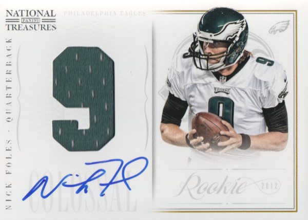2012 Panini National Treasures Rookie Colossal Jersey Number Signatures #17 Nick Foles