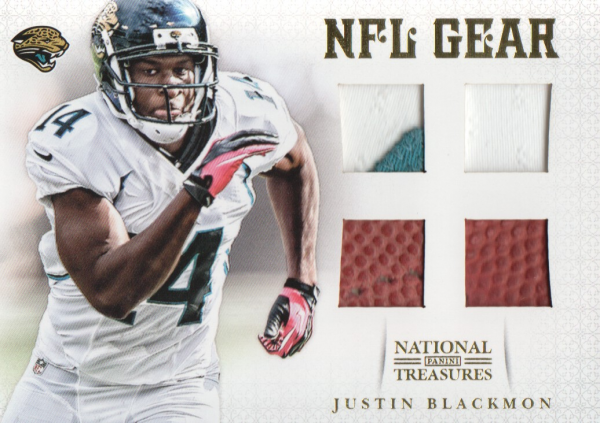 2012 Panini National Treasures NFL Gear Quad Prime #12 Justin Blackmon