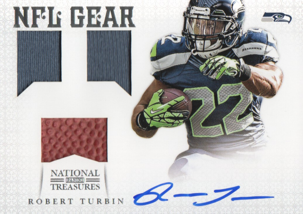 2012 Panini National Treasures NFL Gear Triple Signatures #35 Robert Turbin