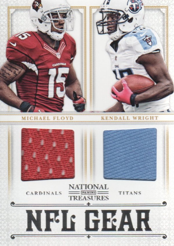 2012 Panini National Treasures NFL Gear Dual Player Materials #7 Kendall Wright/Michael Floyd