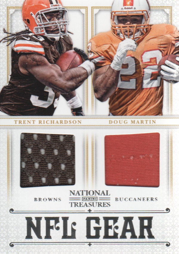 2012 Panini National Treasures NFL Gear Dual Player Materials #17 Doug Martin/Trent Richardson