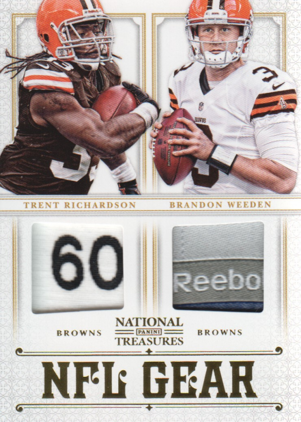 2012 Panini National Treasures NFL Gear Dual Player Materials Prime #2 Brandon Weeden/Trent Richardson