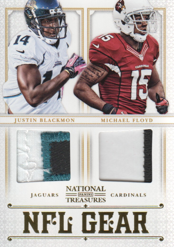 2012 Panini National Treasures NFL Gear Dual Player Materials Prime #3 Justin Blackmon/Michael Floyd