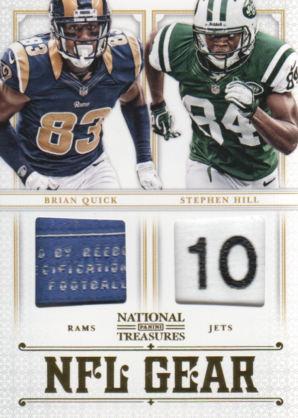 2012 Panini National Treasures NFL Gear Dual Player Materials Prime #9 Brian Quick/Stephen Hill