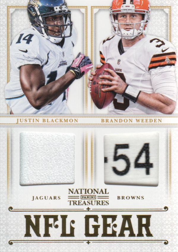 2012 Panini National Treasures NFL Gear Dual Player Materials Prime #13 Brandon Weeden/Justin Blackmon